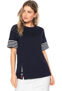 Camiseta Lez A Lez Penteada Azul Marinho
