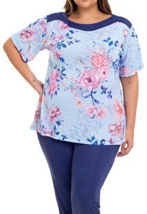 Pijama Longo Liganete Floral Poá Sepie (2454) Plus Size