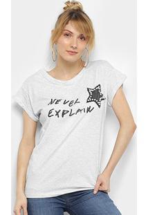 Camiseta Facinelli Estrela Pérolas Manga Curta Feminina - Feminino-Cinza Claro