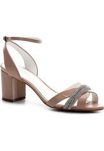 Sandália Shoestock Bride Couro Strass - Feminino-Nude