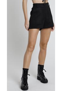 Short Feminino Em Suede Cintura Super Alta Com Bolsos Preto