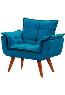 Poltrona Decorativa Opala Azul Turquesa Pã© Palito Meunovolar - Azul - Dafiti