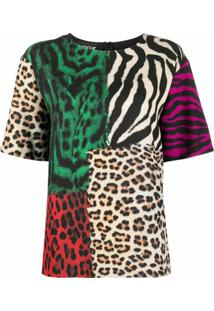 Boutique Moschino Cardigan Animal Print Color Block - Marrom