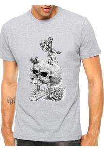 Camiseta Criativa Urbana Caveira Flores Style - Masculino-Cinza