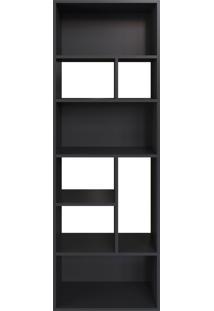 Estante Multiuso 160Cm Modern Office 8 Nichos Preto E Estilare Móveis
