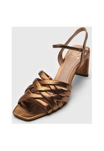 Sandália Dumond Transpasse Metalizada Dourada