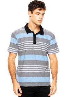Camisa Polo Quiksilver Coastal Mo Po Branca/Preta/Azul