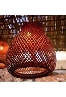 Luminária Tikuna Fibra De Arumã Vermelha