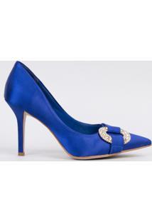 Scarpin Salto Fino 10Cm Velvet Azul Com Strass Cbk