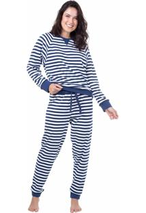 Pijama Longo Suedine Homewear Azul - 589.0710 Marcyn Lingerie