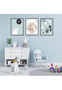 Quadro 60X120Cm Infantil Lembrança Bebê Menino Moldura Branca Sem Vidro Decorativo