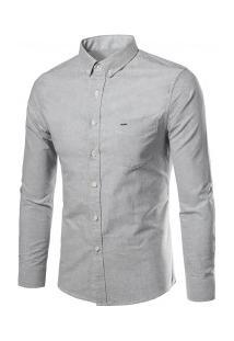 Camisa Casual Masculina Slim Manga Longa - Cinza