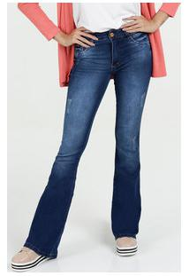 Calça Feminina Jeans Puídos Flare Porta Celular Biotipo