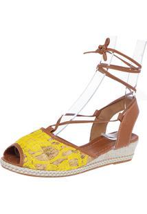 Sandália Dafiti Shoes Amarração Renda Amarela