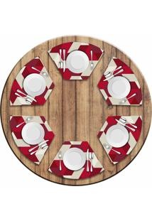 Jogo Americano Love Decor Para Mesa Redonda Wevans Red Geometric Kit Com 6 Pçs