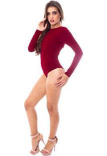 Body Moda Vicio Manga Longa Feminino - Feminino-Vermelho