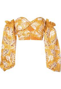 Amur Blusa Cropped Com Bordado Floral - Amarelo