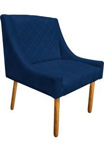 Poltrona Decorativa Paris Suede Azul Marinho - D'Rossi