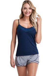 Pijama Short Doll Verão Alcinha Com Renda Feminino Luna Cuore