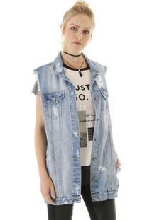 Colete Jeans Alongado Com Puídos E Bolsos Frontais Aha
