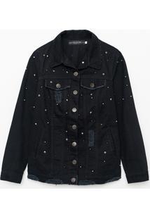 Jaqueta Em Jeans Com Puídos E Tachas