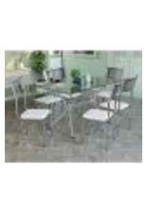 Conjunto Mesa 1,40M Com 6 Cadeiras Tampo De Vidro Kappesberg Cromado/Branco