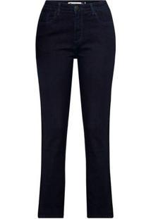 7257fd3369 ... Calça Feminina Jeans Cigarrete Cintura Alta Com Detalhe Lateral Em Veludo  Molhado
