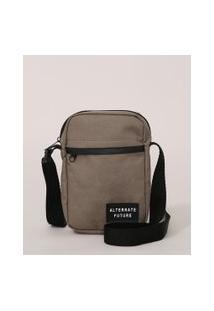 Bolsa Shoulder Bag Masculina Transversal Pequena Com Bolso Kaki