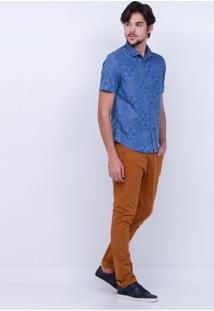 Camisa Em Jeans Estampada
