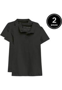 Kit 2 Camisas Polo Basicamente Feminino - Feminino-Preto