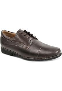 Sapato Social Masculino Bico Quadrado Derby Sandro Moscoloni Golden Shoes Marrom Escuro