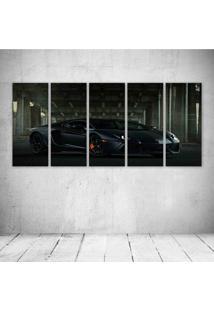 Quadro Decorativo - Lamborghin Aventador Lp700 4 Black - Composto De 5 Quadros - Multicolorido - Dafiti