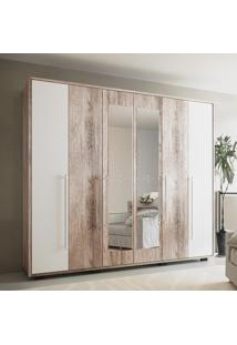 Guarda-Roupa 6 Portas Com Espelho Munique Castanha Rúst/Branco - Colibri Móveis