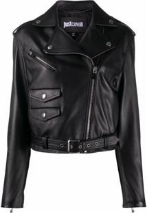 Just Cavalli Leather-Look Jacket - Preto