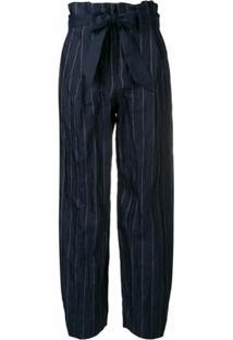 Emporio Armani Calça Com Cinto E Listras - Azul