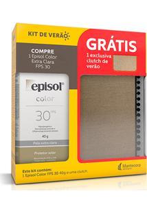 Kit Protetor Solar Facial Episol Fps30 Cor Extra Clara 40G + Clutch De Verão