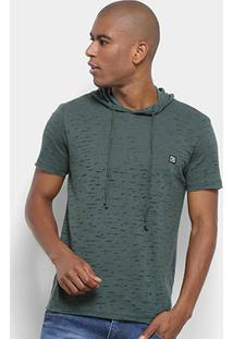 Camiseta Long Island Capuz Masculina - Masculino-Verde Escuro