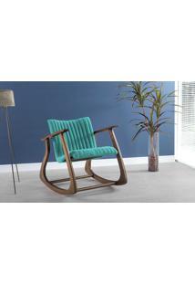 Cadeira De Balanço Smith Metalassê 65X83X72Cm - Verniz Capuccino \ Tec.950 - Turquesa