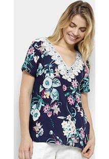 Blusa Estampada Floral Mi Com Guipir Feminina - Feminino-Azul