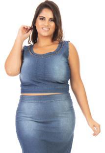 Cropped Jeans Regata Com Pedraria Plus Size - Tricae