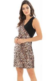 e0d6a576f Plus Size Cirre Quintess feminino. Vestido Quintess Animal Print E Preto ...