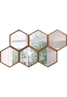 Espelho Decorativo Colmeia 83X143 Cm Madeira