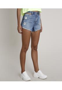 Short Jeans Feminino Com Vazado E Rasgos Cintura Alta Azul Médio