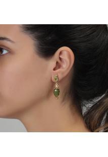 Brinco Rosa Pinhal Cristais Verde Gotas E Zircã´Nia - Dourado - Feminino - Dafiti