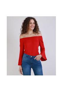 Blusa Feminina Ombro A Ombro Manga Ampla Longa Vermelho