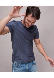 Camiseta Masculina Básica Flamê Manga Curta Gola Careca Azul Marinho