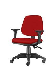 Cadeira Job Com Bracos Assento Courino Vermelho Base Nylon Arcada - 54612 Vermelho