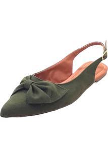 Sapatilha Mais Sapato Bico Fino Verde