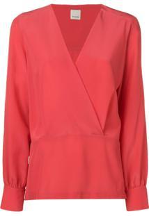 Pinko Blusa Com Decote V - Vermelho
