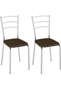 Conjunto Com 2 Cadeiras Vinil Ii Cacau E Cromado